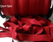 "Dark Red 5/8"" Fold Over Elastic 10 Yards"