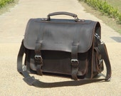 Leather Briefcase Messenger Bag Laptop Case Satchel Attache Large 16""