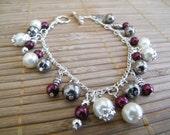 Charm Bracelet - Pearl and burgundy