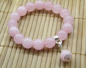 Rose Quartz Bracelet with Charm holder
