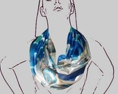 Hand Painted Silk Scarf Swirl Seashells and the Sea