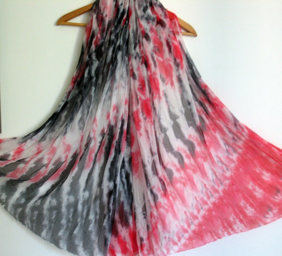 Hand Painted Silk Scarf.Abstract in Red,White and Black.Made To Order.73x39 in.
