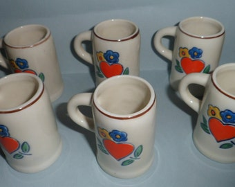 Six Vintage Decorative Miniature German Beer Mugs with Heart and Flowers