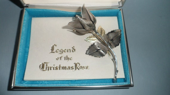 SALE 1966 Vintage Giovanni Longcraft, Boston Silvertone Christmas Rose