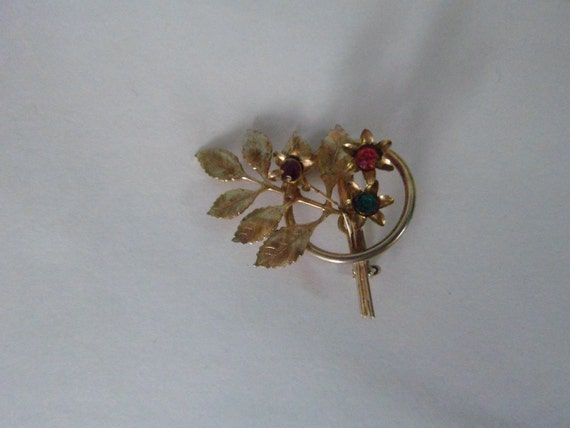 Vintage Goldtone Flower Leaf Pin Purple, Green, Pink