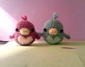 Love Birds (small) - PAIR of cute amigurumi birds - made to order -