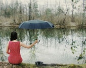 Lonely photography Call me -  rain umbrella waiting telephone melancholy sadness whimsical red green brown imagine Photography  8x12
