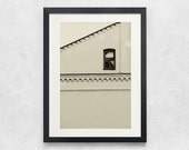 Lonely window photography 4x6 beige neutral minimalist architectural black and white Fine Art Photography