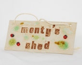 Shed Plaque Sign Personalized Ceramic Garden Sign Hanging, Custom Name with Ladybirds, Recycled Glass, Vibrant Summer Outdoor, Made to Order