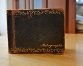 Vintage Leather-bound Autograph Book with Colorful Pages