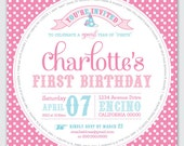"""First Birthday Invite - Year of """"Firsts"""" - DIY Printable"""