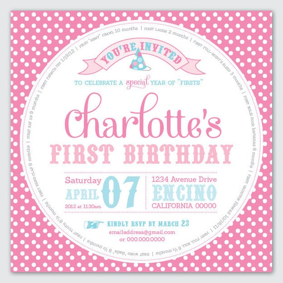 "First Birthday Invite - Year of ""Firsts"" - DIY Printable"