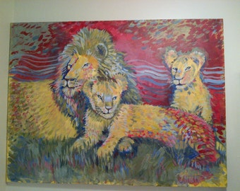 Lion and 2 lion cubs Acrylic painting