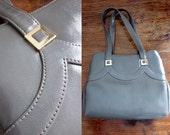 Vintage 1960s handbag / 60s kelly bag / gray grey purse / Madmen purse / John Hort purse