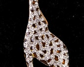 VINTAGE Gold Rhinestone Enameled Giraffe Large Statement Pin Brooch