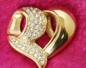 VINTAGE Givenchy Gold/Crystal Heart Pendant
