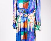 VINTAGE Louis Feraud Silk Multi Color Belted Long Sleeve Dress SZ 6