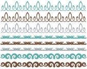 Viceroy Ornate Borders - Blue Brown Grey - Clip Art for Personal & Commercial Use - INSTANT DOWNLOAD - Digital Designs