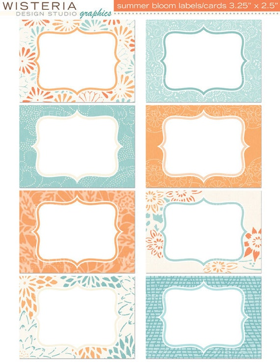 "Summer Bloom Labels / Cards - 3.5"" x 2.5"" - INSTANT DOWNLOAD - For Personal & Commercial Use - Digital Designs"
