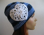 Crocheted Beanie Slouch Hat Blue Striped White Heart - Ready to Ship