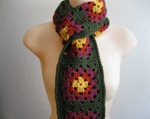 Crocheted Scarf Moss Green Granny Squares - Ready to Ship