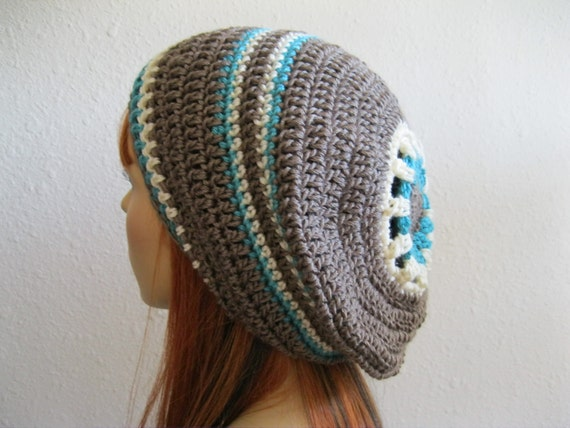 Crocheted Slouchy Beanie Hat Taupe Turquoise White Stripes Decorative Center - Ready to Ship