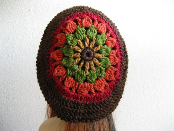 Crocheted Slouchy Beanie Hat Dark Brown Multicolor - Valentines Gift for Her - Ready to Ship