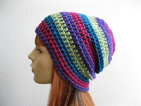 Crocheted Slouchy Beanie Multicolor Stripes - Ready to Ship