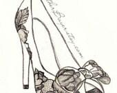 High Heel Shoe Fashion Illustration Original Black & White Valentino Drawing Custom Print