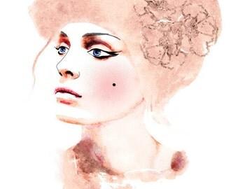 Watercolor Mixed Media Fashion Illustration Print. Soft Rose Pink Hues