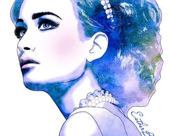 Blue Diamonds  - Watercolor Fashion Illustration Fine Art Print