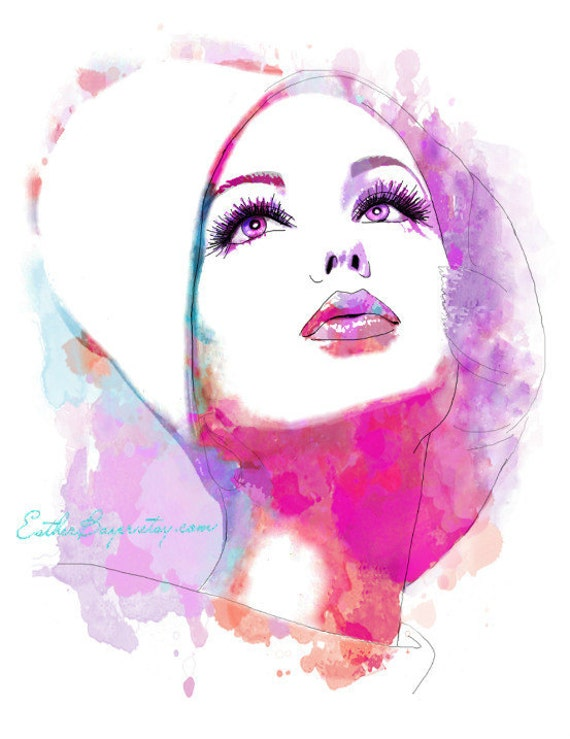 Colorful Vintage 60s Vogue Cover Abstract Watercolor Fashion Illustration Painting Print
