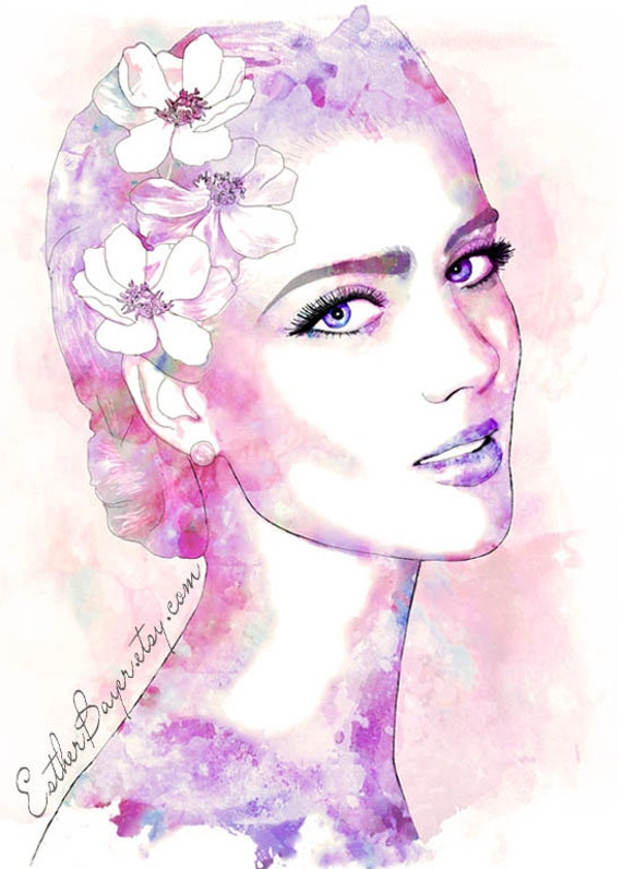 Orchid Dance -Watercolor Fashion Illustration Painting Fine Art Print