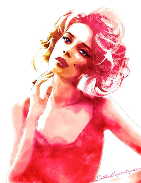 Scarlet - Watercolor Fashion Illustration Fine Art Print