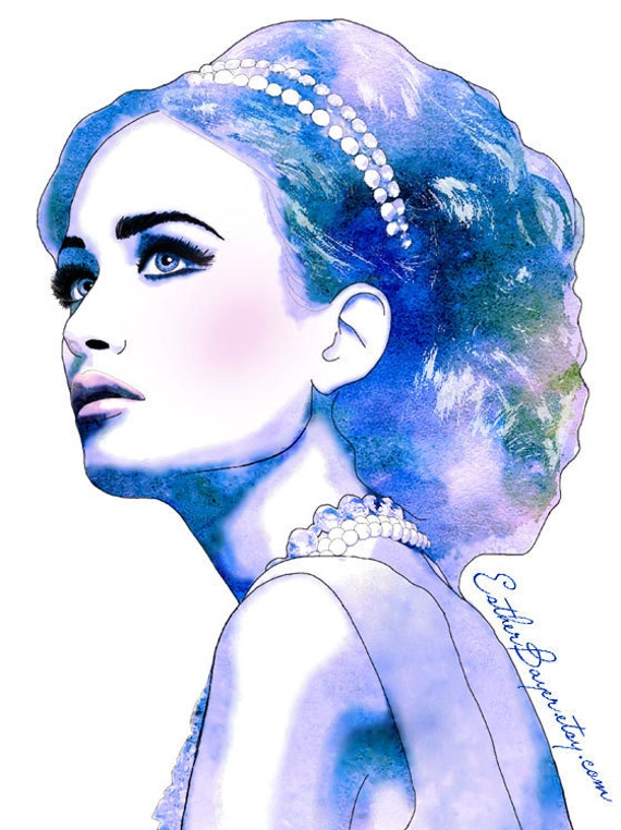 Blue diamonds watercolor fashion illustration fine art print
