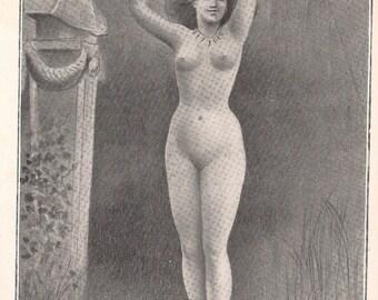 Original Art Nouveau Picture Les Cymbales 1905 illustrated Riverend - French Antique Print. Ephemera.Mature.