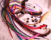 "10ct 8-11"" Hair Kit Feathers Extensions How To Do Kit with All Tools and diy feather Instructions"