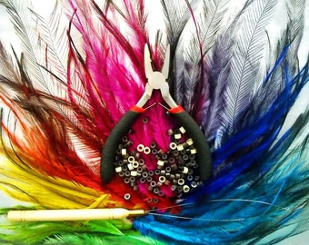 Cruelty Free diy FEATHER STARTER KIT 100 Emu Hair Extensions and Tools: Make your own