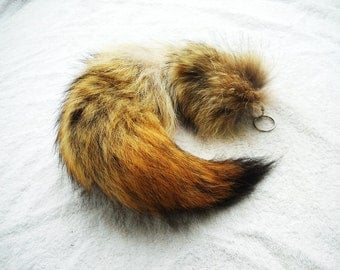 "Real Fur Coyote Tail 16""-18"" Totem Key chain Key Ring Furry Animal Ornament for Purse, Anime Costume, Etc"