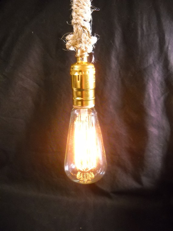 Sale - Industrial Pendant Light Hanging Rope Swag Lamp with Edison Marconi Filament Bulb Minimalist Design