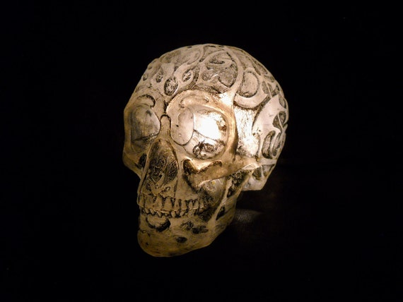 Lighted skull lamp night light unique macabre horror art