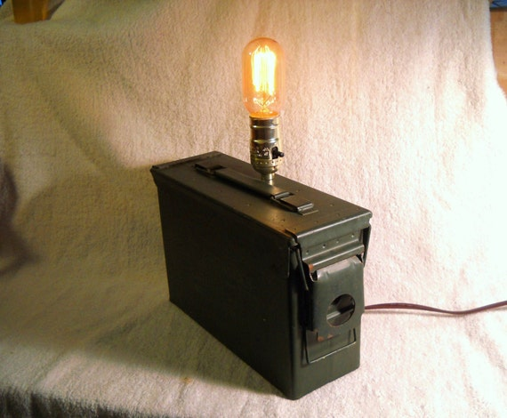 Military Industrial metal table lamp ammunition box lighting with exposed socket edison marconi radio filament bulb