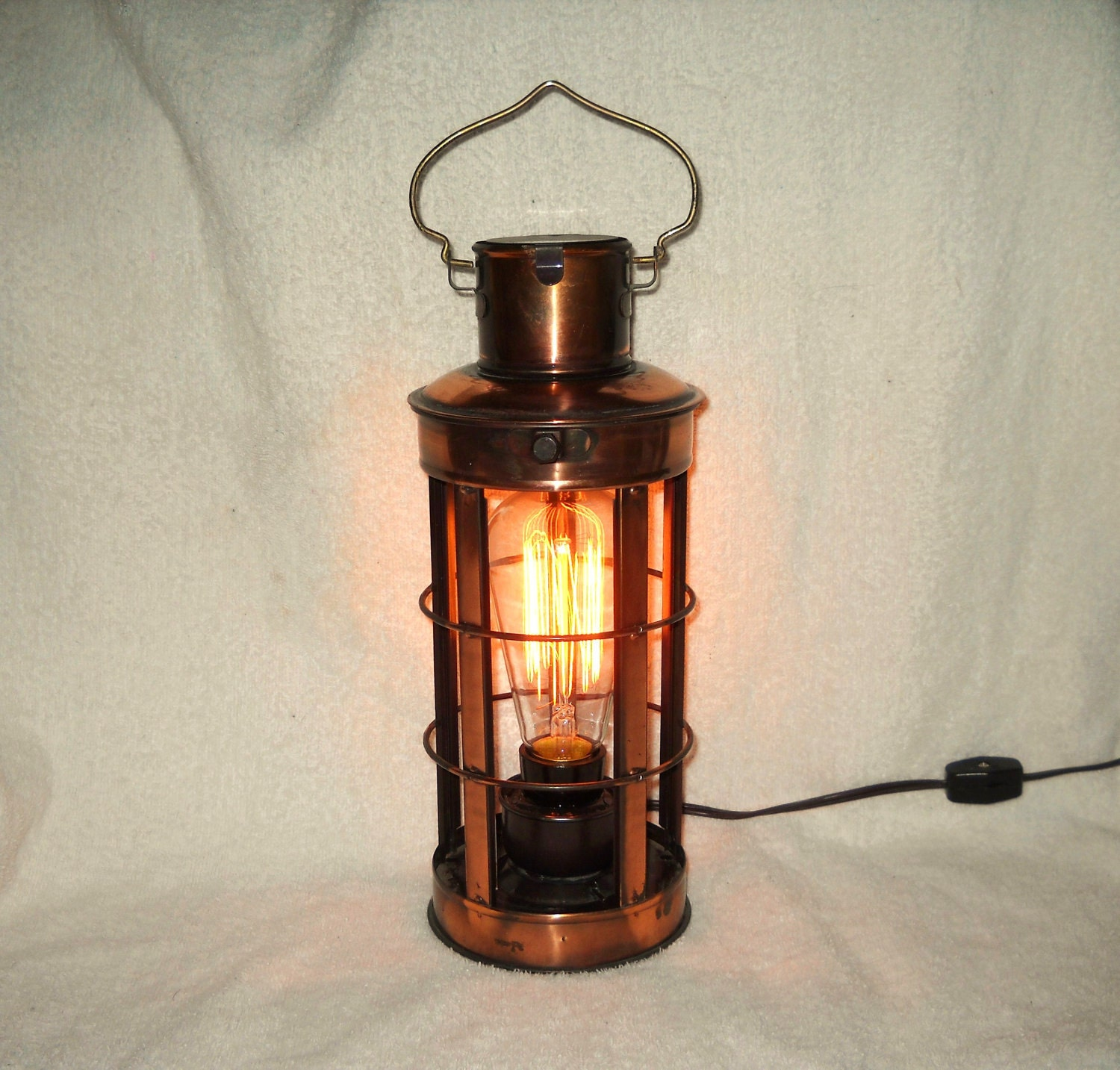 Metal Steampunk Industrial lantern lamp copper electric table