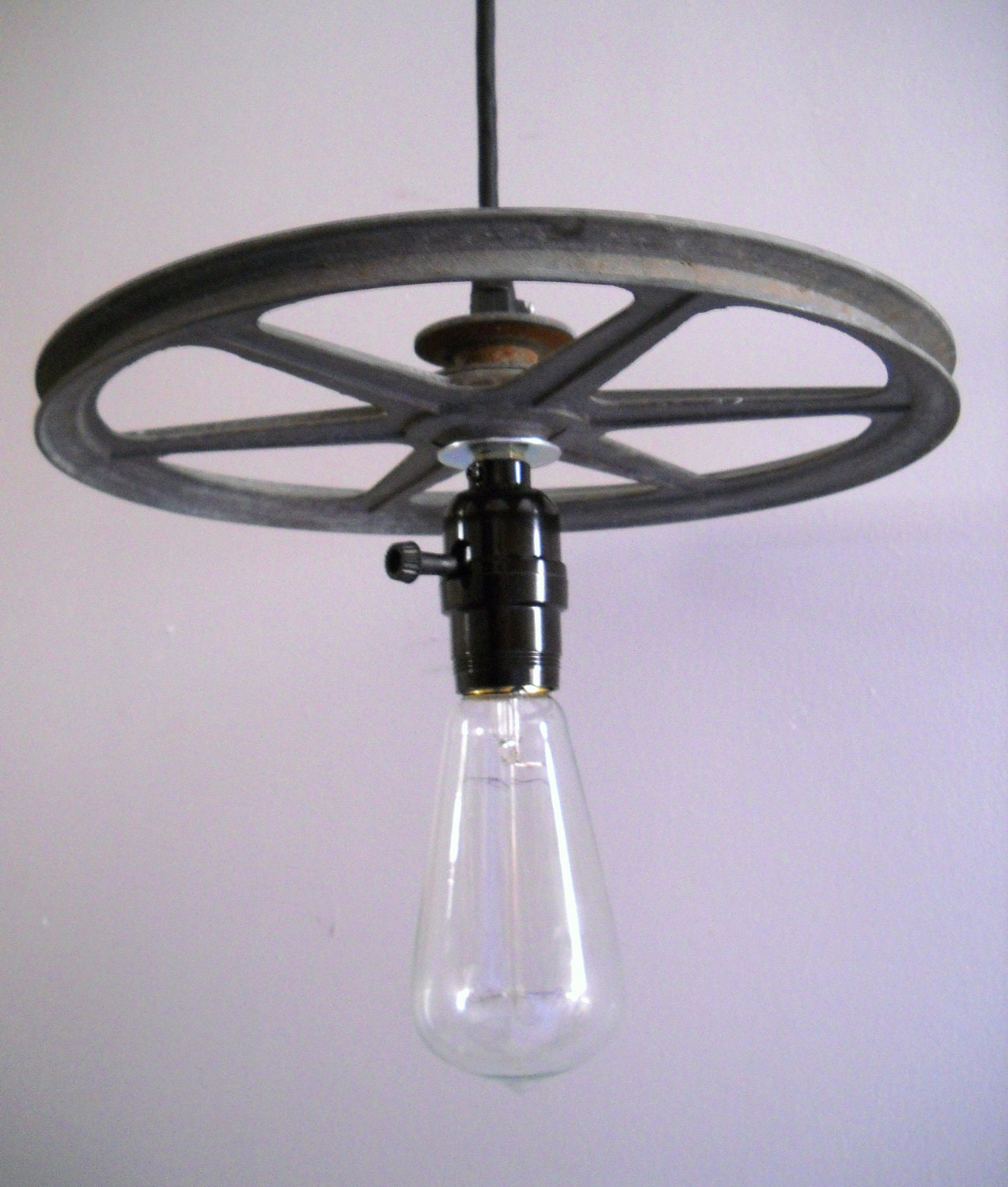 Items Similar To Rustic Light Pendant Lighting Pulley On Etsy: Industrial Pendant Light Hanging Vintage Metal Steampunk