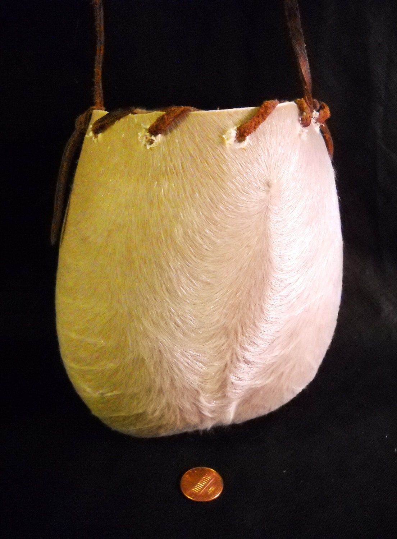 Bull Scrotum Real White Leather Fur Hairy Hide Ball Bag