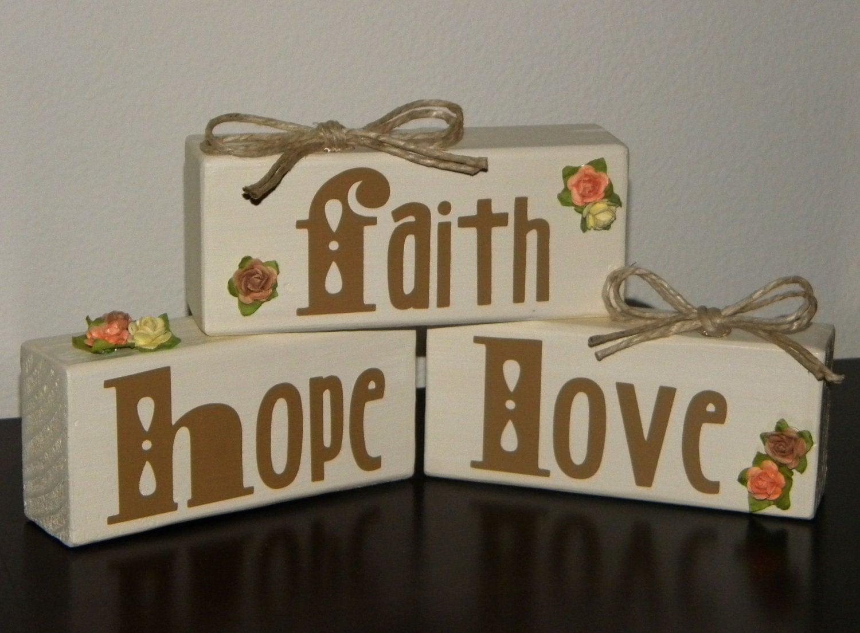 Items similar to faith hope love wooden block home decor for Faith decor