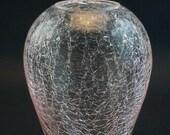 Mid Century Modern Pink Crackle Glass Vase