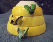 RESERVED for AIMEE ELIZABETH   Retro Cups Yellow Beehive Scoops ca 50s  Retro Menschik bee hive in harder to find yellow