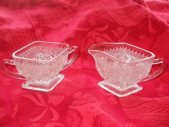 Vintage Sugar Creamer Set  Diamond Shaped Pressed Glass Creamer and Sugar Bowl Sandwich Glass / Indiana / Tiara 170 Glass
