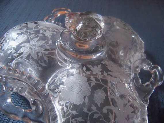 Depression Glass Cambridge Wildflower Etched Elegant Glass Bowl Lid ca 30's - 50's PERFECT Condition -